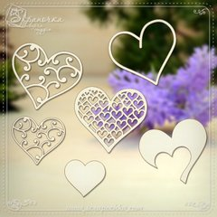 Chipboard Set Hearts, Cardboard light 1.6 mm