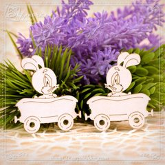 Chipboard Carriage Bunny Set, Cardboard light 1.6 mm