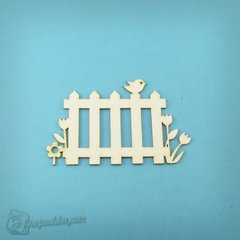 Chipboard picket Fence with flowers and bird, Cardboard light 1.6 mm
