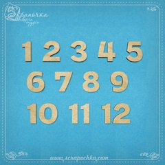 Set of numbers 1-12, Plywood 4 mm.