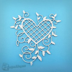 Chipboard filigree heart (Large), Cardboard light 1.6 mm