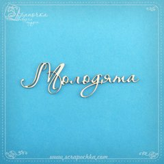 Chipboard lettering Newlyweds in ukr., Cardboard light 1.6 mm