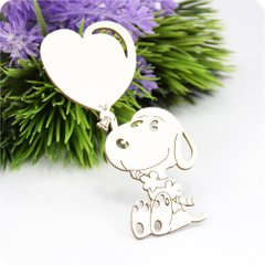 Chipboard Puppy with a heart, Cardboard light 1.6 mm