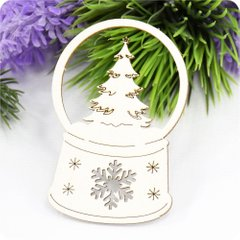 Chipboard Snow globe Tree, Cardboard light 1.6 mm