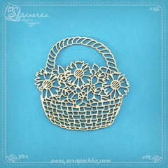 Chipboard Basket with flowers, Cardboard light 1.6 mm