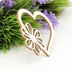 Chipboard Heart with a flower, Cardboard light 1.6 mm