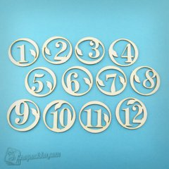 Chipboard Set of numbers 1-12, Cardboard light 1.6 mm