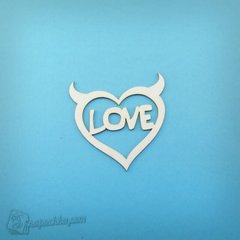 Chipboard Heart with horns, Cardboard light 1.6 mm